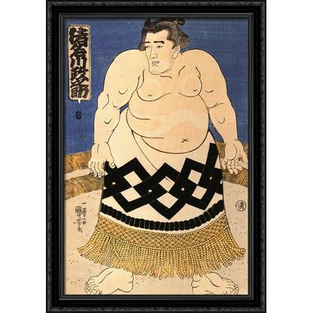 The sumo wrestler 28x40 Large Black Ornate Wood Framed Canvas Art by Utagawa Kuniyoshi](Sumo Wrestler Suit)
