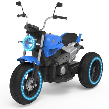 Riding Heel - HOVERHEART Kids 3 Wheels Electric Tricycle Ride on Motorcycle 6V Battery Powered (Blue)