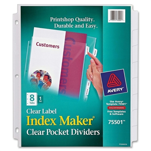 Avery Index Maker Clear Label Three-Hole Punch View Dividers, Letter, Eight/set 75501