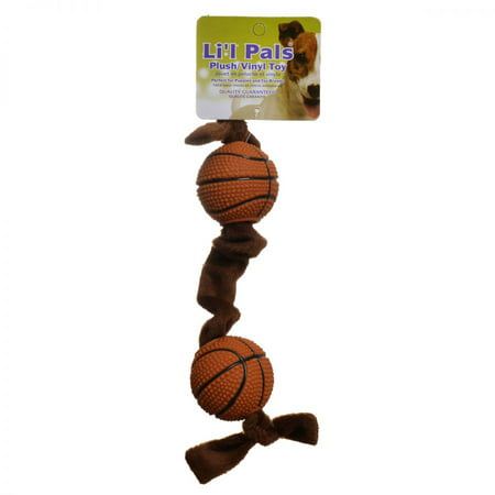 Li'l Pals Plush Basketball Plush Tug Dog Toy - Brown Basketball Plush Tug Dog Toy