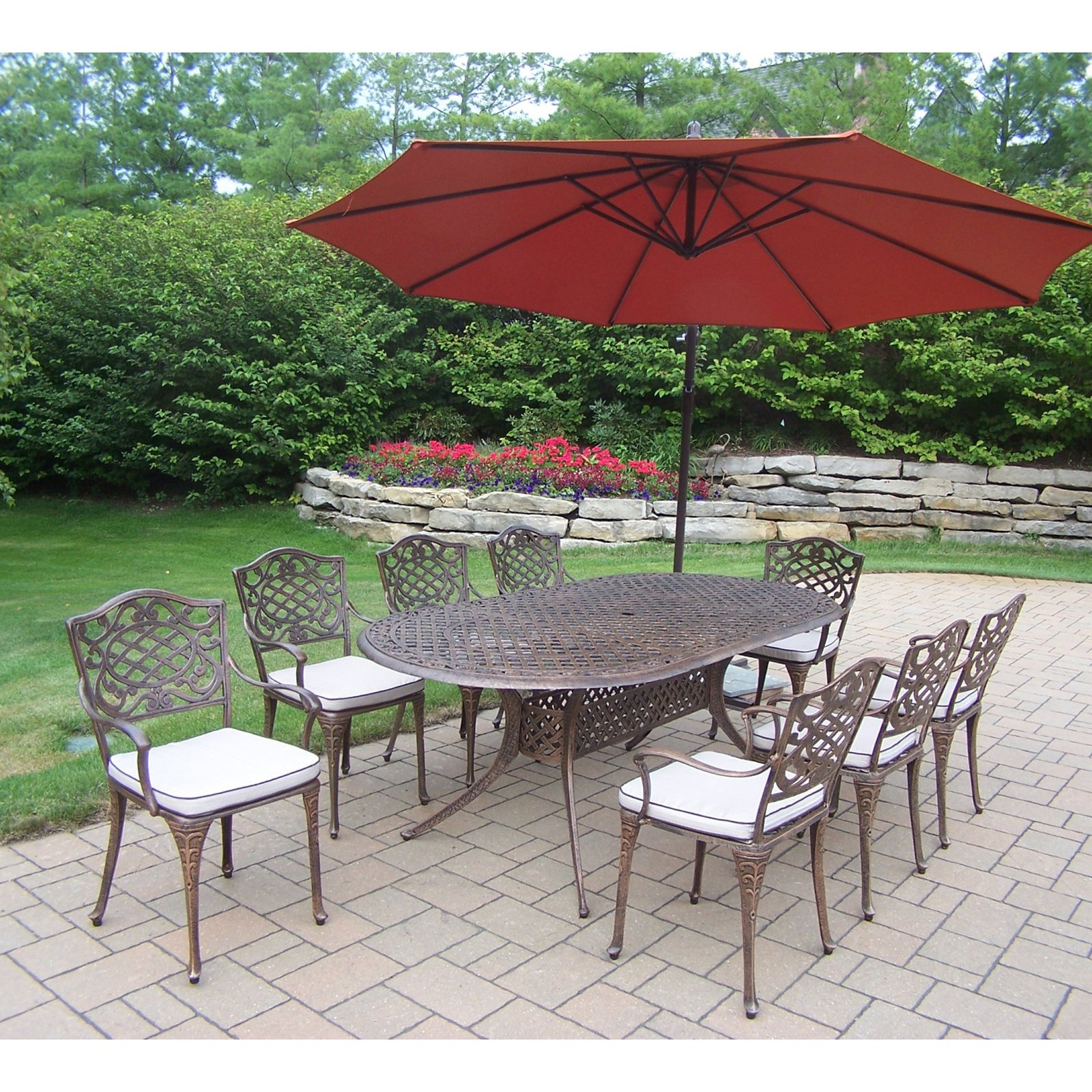 Oakland Living Mississippi Cast Aluminum 82 x 42 in. Oval Patio Dining Set with Cushions and Cantilever Umbrella - Burnt Orange Umbrella
