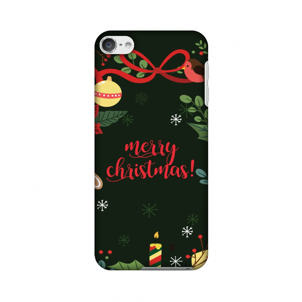 iPod Touch 6th Gen Case - Christmas Cheer 1, Hard Plastic Back Cover, Slim Profile Cute Printed Designer Snap on Case with Screen Cleaning Kit