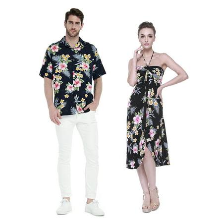 Couple Matching Hawaiian Luau Cruise Party Outfit Shirt Dress in Hibiscus Black Men XL Women