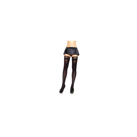 Leg Avenue Opaque Thigh Highs with Lace Top 6258LEG BL Black