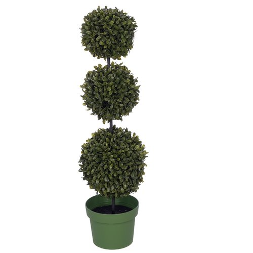 Charlton Home Artificial Triple Ball Desktop Boxwood Topiary in Pot