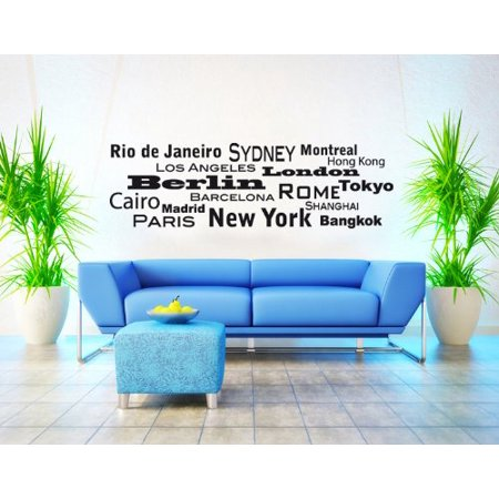 - World Cities III: New York, Rio De Janeiro, Montreal... Wall Decal - wall decal, sticker, quotes and sayings - 1183 - Dark green, 47in x 15in