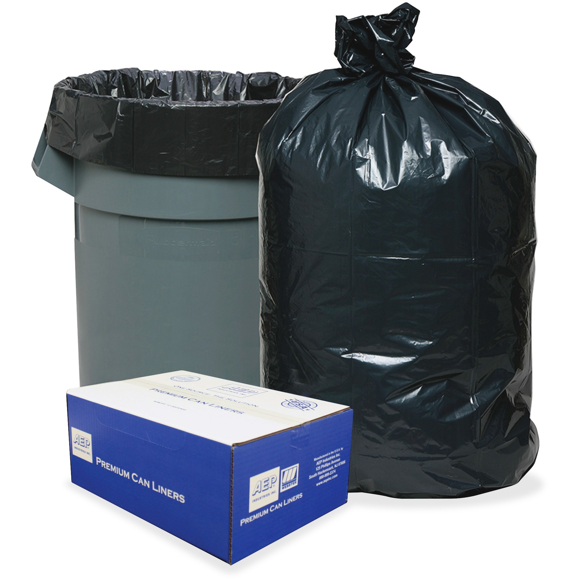 Webster Heavy-Duty Opaque Low-Density Liners, 30 Gallon, 250 Count
