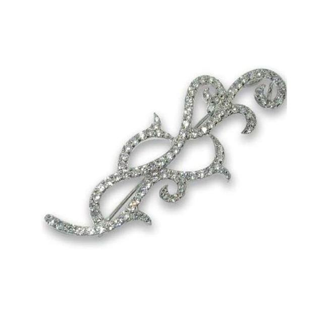 CZ Collections PIN1044 Sterling Silver Outline Shape Pin