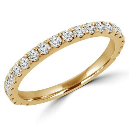 2/5 CTW Round Diamond Semi-Eternity Wedding Band Ring in 14K Yellow Gold (MD170318) - image 1 de 2