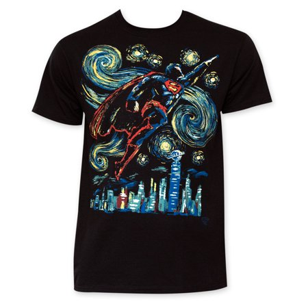 Superman Flying Starry Night Tee Shirt (Sloth Superman Shirt)