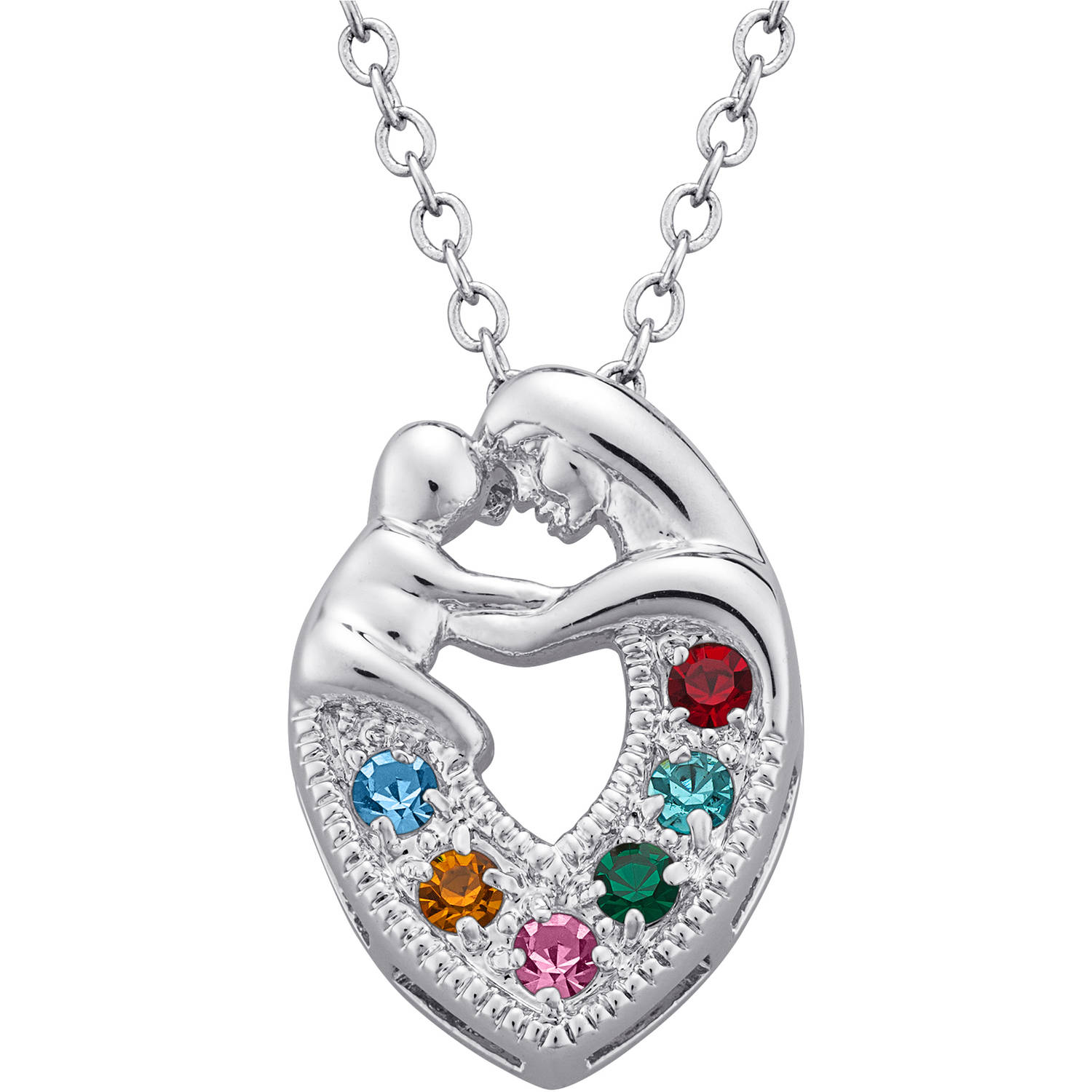 "Personalized Rhodium-Tone Embraced Mother's Family Birthstone Pendant, 18"" + 2"" Extender"