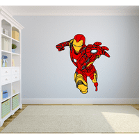 Iron Man The Avengers Cartoon Character Wall Decal Vinyl Sticker Art Home Decor Sticker Vinyl Mural Baby Kids Room Bedroom Nursery Kindergarten School House Wall Art Design Peel and Stick 40x20 inch