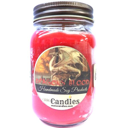 Mels Candles and More Dragons Blood- 16oz Country Jar All Natural Soy Candle Made with Essential Oil - Apx Burn Time 144