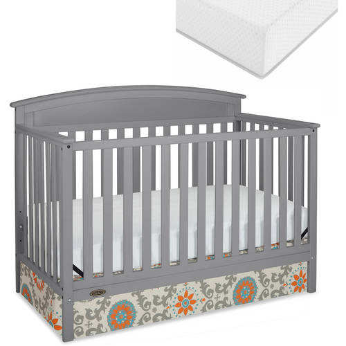Graco Benton 5-in-1 Convertible Fixed-Side Crib and Mattress Value Bundle