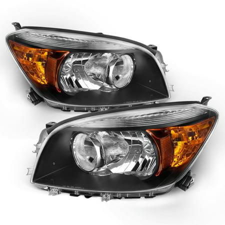 [Black] Fits 2006 2007 2008 Toyota Rav4 LH + RH Side Headlights Front Lamps
