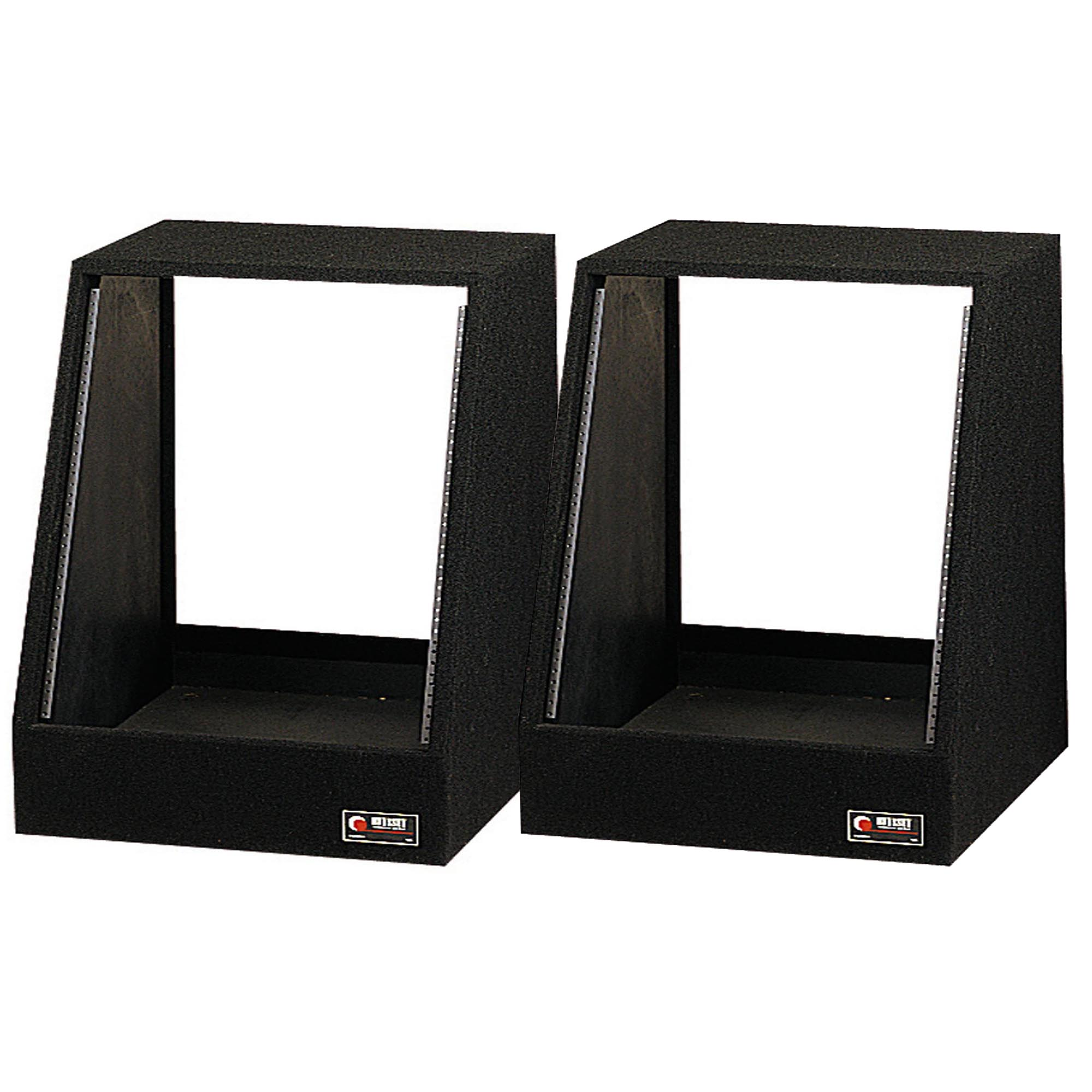 Odyssey 12 Spaces 12U Angled Face Open Back Carpeted Studio Rack (2 Pack) CRS12 by Odyssey Case