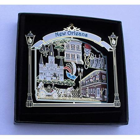 New Orleans Ornament State Souvenir Brass Black Leatherette Gift Box - New Orleans Saints Christmas Ornaments