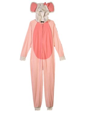 Womens Pink Elephant Blanket Sleeper Hooded Pajama Union Suit Large