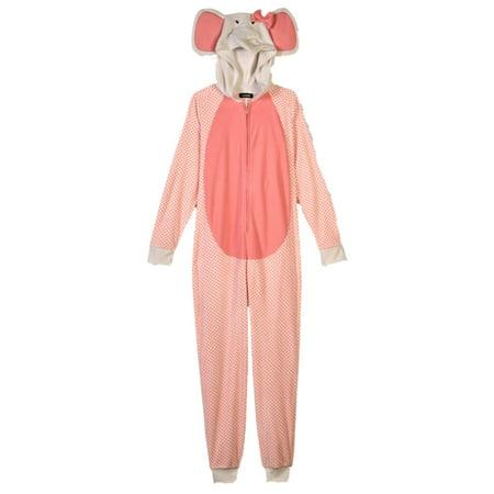 Elephant Onesie Adult (Womens Pink Elephant Blanket Sleeper Hooded Pajama Union Suit)