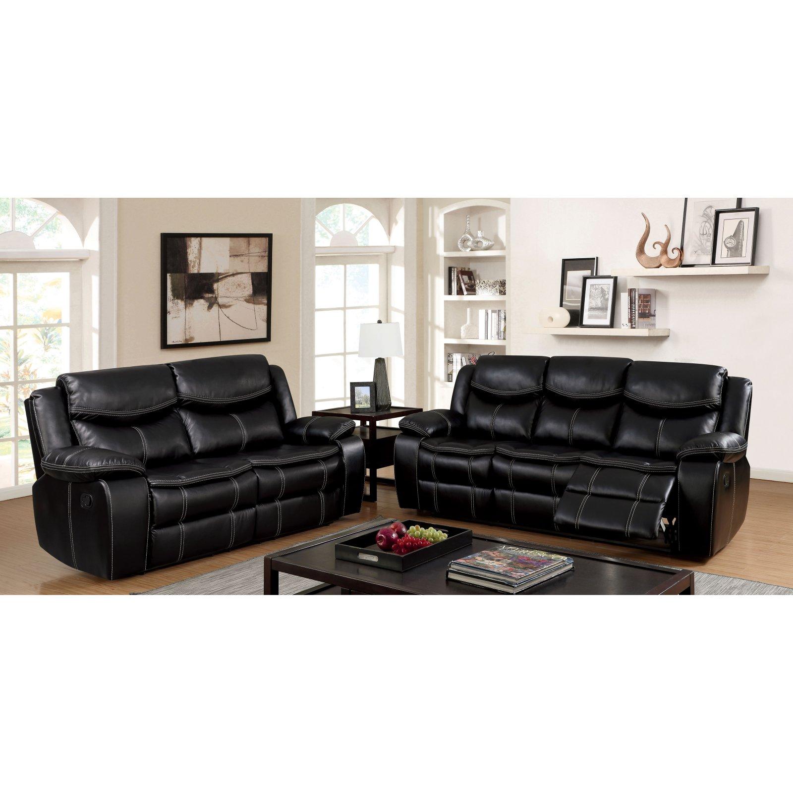 Furniture of America Siekka Transitional Style Leatherette Recliner Loveseat