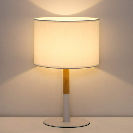 HAITRAL Bedside Table Lamp - White Bedside Desk Lamp with Metal Base, Wooden Frame and Line Fabric Shade Elegant Nightstand Lamps for Bedrooms, Office, Living Room (HT-TH73-21) ()