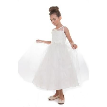 Little Girls Ivory Scalloped Lace Tulle Flower Girl Dress