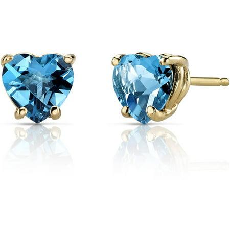 1.75 Carat T.G.W. Heart-Shape Swiss Blue Topaz 14kt Yellow Gold Stud Earrings