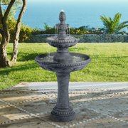 "John Timberland Italian Outdoor Floor Water Fountain 44"" High 3 Tiered Pineapple Bowls for Yard Garden Patio Deck Home"