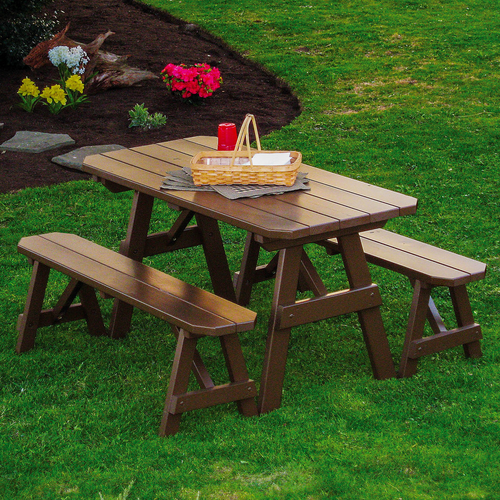 Furniture Barn USA Classic Pine Picnic Table with 2 Benches by Furniture Barn USA™