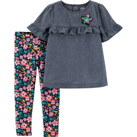 68b7ea90e1e76 Child of Mine by Carter's - Short Sleeve Ruffle Top & Leggings, 2-Piece  Outfit Set (Toddler Girls) - Walmart.com