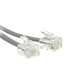 Silver Satin Phone - Cable Wholesale 8101-64207 Telephone Cord Voice- RJ11, 6P & 4C Silver Satin - Reverse 7 ft.