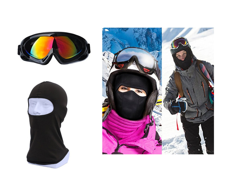 Ski Goggles & Balaclava Set, Snowmobile Snowboard Skate Skiing Goggles with 100% UV Protection Bright Lens, Windproof... by