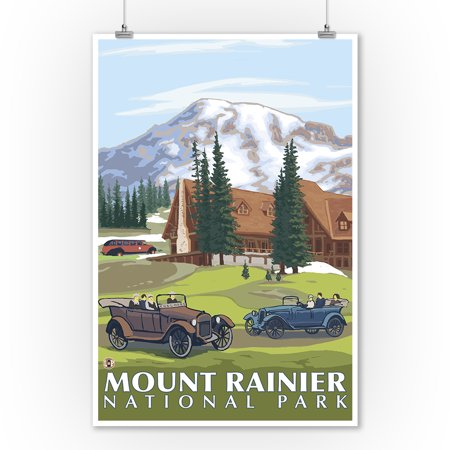 Mount Rainier, Washington - Paradise Lodge & Chalmers - Lantern Press Artwork (9x12 Art Print, Wall Decor Travel Poster)