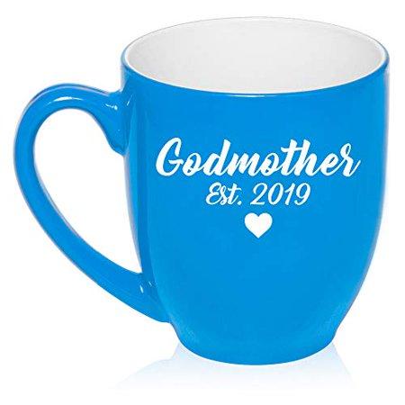 Pewter Christening Cup - 16 oz Large Bistro Mug Ceramic Coffee Tea Glass Cup Godmother Est 2019 Christening Baptism (Light Blue)
