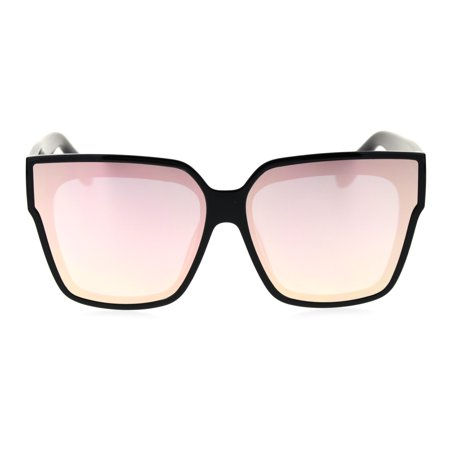 Womens Recess Panel Lens Thick Horn Rim Boyfriend Hipster Sunglasses Black Pink (Hipster Sunglasses Tumblr)