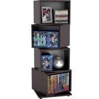 "Atlantic 37"" Rotating Cube Media Storage Tower (216 CDs, 144 DVDs, 168 Blu-rays), Espresso"