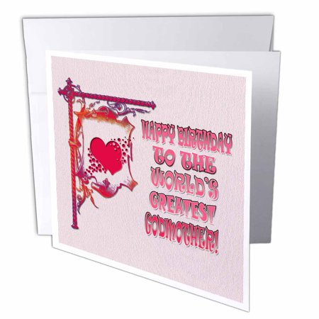 3dRose Happy Birthday To The Worlds Greatest Godmother Popular Saying Greeting Cards 6 X Inches Set Of