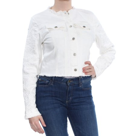 GUESS Womens Embroidered Denim Jacket whitelace M