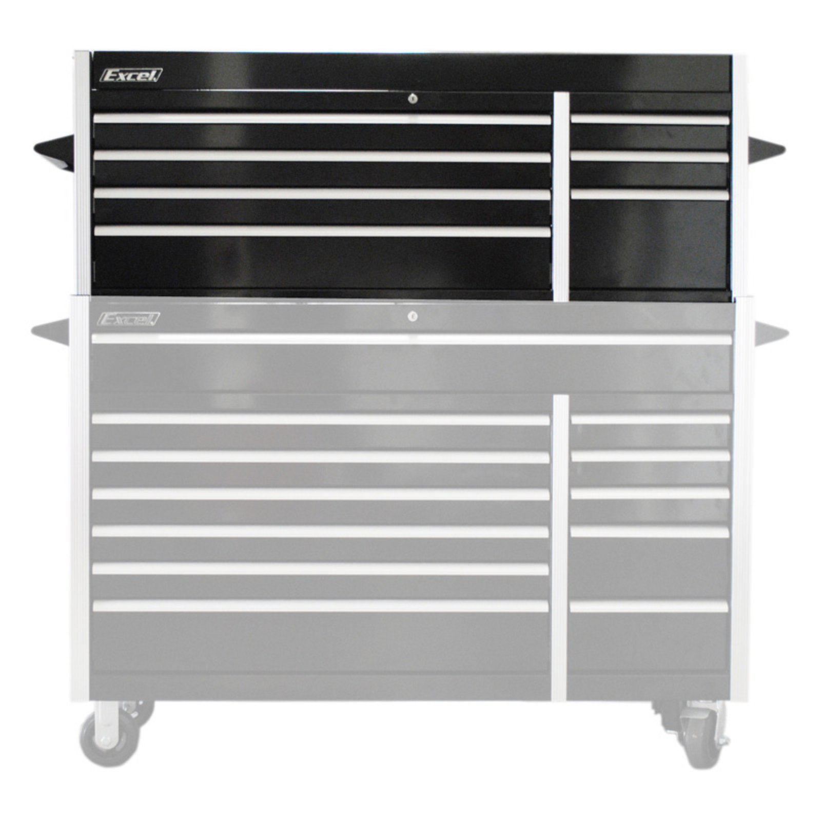 """Excel 56"""" Steel Tool Top Chest with 7 Ball Bearing Drawers - Black"""