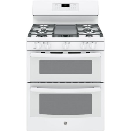 JGB860DEJWW 30 Freestanding Gas Double Oven Range with Convection  6.8 cu. ft. Total Capacity  3 Total Oven Racks  Self-Clean  Steam Clean Option  and 5 Sealed Burners  in