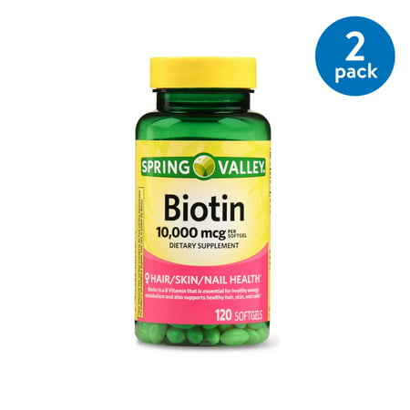 (2 Pack) Spring Valley Biotin Softgels, 10000 mcg, 120 Ct