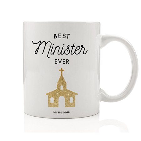 BEST MINISTER EVER Coffee Mug Gift Idea Bride & Groom Beautiful Thank You or Christmas Holiday Present for Religious Clergy Performing Wedding Ceremony 11oz Ceramic Tea Cup by Digibuddha