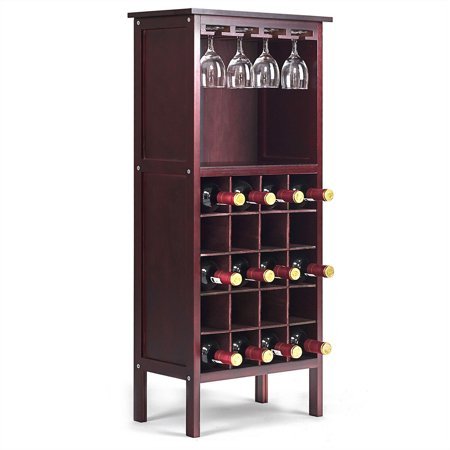 Costway Wood Wine Rack Holder Storage Shelf Display w/ Glass Hanger (20-Bottle(Cabinet)) ()
