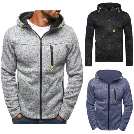 Mens Zipper Hoodies Hooded Sweatshirt Jacket Coat Sports Gym Fitness Jogging (Zippered Hooded Sweatshirt Men)