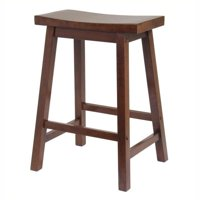 """Pemberly Row 24"""" Counter Saddle Stool in Antique Walnut"""