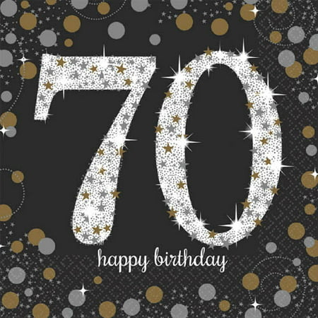 Over the Hill 'Sparkling Celebration' 70th Birthday Lunch Napkins (16ct) - Ideas For A 70th Birthday