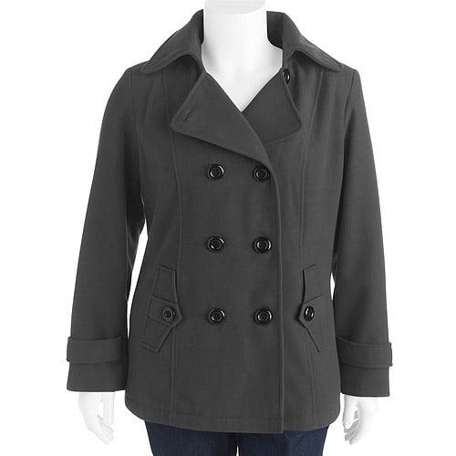 George Women's Plus-Size Faux Wool Hooded Peacoat