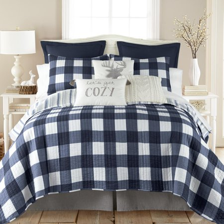 Levtex Home - Camden Quilt Set -King Quilt + Two King Pillow Shams - Buffalo Check in Navy and Cream - Quilt Size (106 x 92 in.) and Pillow Sham Size (36 x 20 in. ) - Reversible Pattern - Cotton