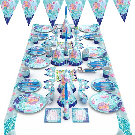 SONLIKE Paper Party Supply Pack Mermaid Themed Party Decoration Kit Disposable Dinnerware Set for Kids Party, Set of 90 - The Little Mermaid Party Theme