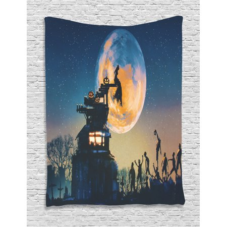 Fantasy World Tapestry, Dead Queen in Castle Zombies in Cemetery Love Affair Bridal Halloween Theme, Wall Hanging for Bedroom Living Room Dorm Decor, Blue Yellow, by Ambesonne (Room Themes For Halloween)